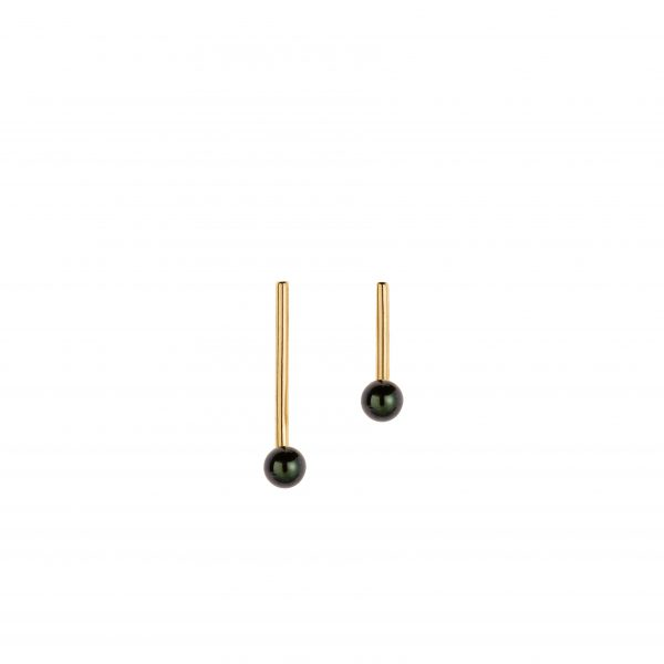 Black Pearl Line Earrings