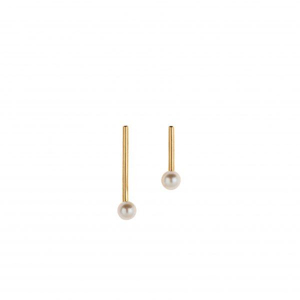 White Pearl Line Earrings